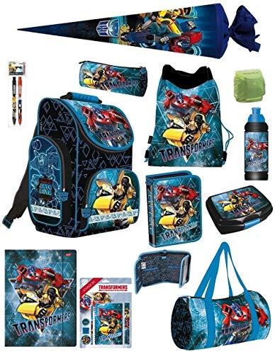 Familando Transformers PL Schulranzen-Set 18-TLG. mit Federmappe, Turnbeutel, Brotzeit-Dose, Trink-Flasche, Sporttasche, Schultüte 70cm und Regenschutz Blau