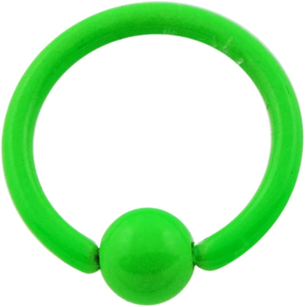 AtoZ Piercing Colorful Green Neon Clover 16 Gauge 316L Surgical Steel Captive Bead Ring Jewelry