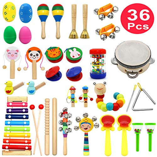 Kids Musical Instruments, PETUOL 36 PCS Valentine's Day Musical Percussion Instrument Set for Toddlers, Xylophone Tambourine for Children Preschool Education, Kids Early Learning Musical Toys Backpack