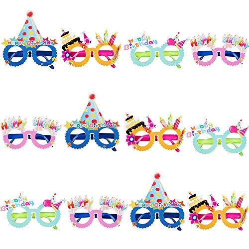 PROLOSO Birthday Party Glasses Photo Booth Props Plastic Costume Glasses Eyeglass Frames Party Supplies 12 Pack
