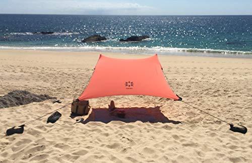 Neso Tienda de campaña Tents Beach con Ancla de Arena, toldo portátil Sunshade - 2.1m x 2.1m - Esquinas reforzadas patentadas(Coral)