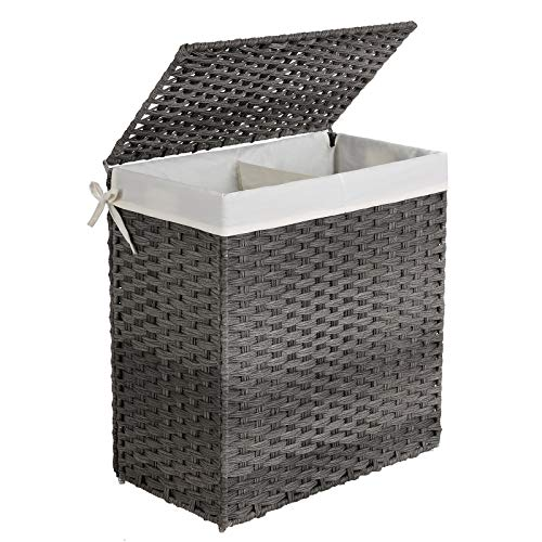 SONGMICS Handwoven Laundry Hamper, Synthetic Rattan Laundry Basket, Divided Clothes Hamper with Removable Liner Bag, Gray ULCB52WG