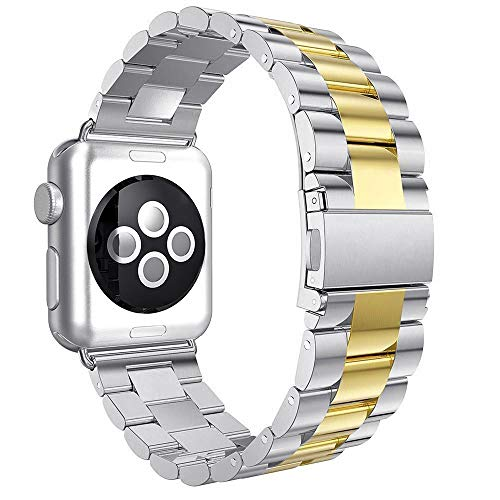 Aottom Compatible con Correa Apple Watch SE 44mm, Apple Watch Series 6 5 4 3 2 1, Correa Acero Inoxidable, Correas del Reloj para Hombre Mujer, Pulsera de Repuesto Correa para Apple Watch 42mm/44mm