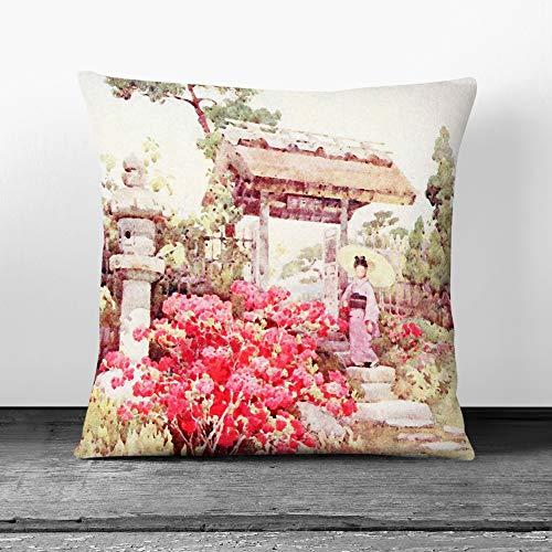Big Box Art Cushion and Cover - Ella Du Cane Japanese Oriental Azaleas - Single Square Throw Pillow - Soft Faux Suede Material - White Rear - 40x40 cm