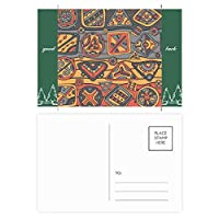 アフリカの土着の部族のコラージュとドローイングスタイル グッドラック・ポストカードセットのカードを郵送側20個