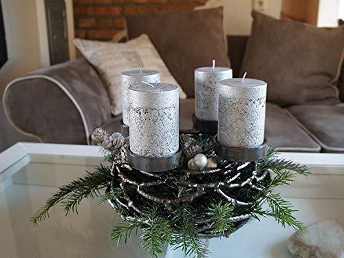 Kunstversteck Designer Adventskranz Kerzenleuchter Dark-Silver, 27cm, Metall, zum Befüllen und Dekorieren Kerzenhalter Weihnachten