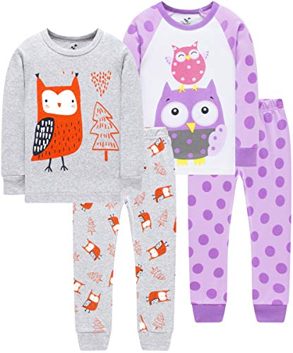 Pajamas for Girls Christmas Toddler Kids Butterfly PJs Baby Clothes 4 Pieces Pants Set