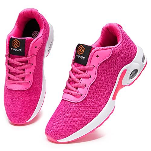 DYKHMATE Laufschuhe Damen Luftkissen Straßenlaufschuhe Leicht Atmungsaktiv Turnschuhe Sportschuhe Fitness Walkingschuhe (Rosa Mesh,38 EU)
