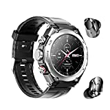 Smart Watch Built-in Bluetooth Earbuds Speaker,Desong 3 in 1 Round Fitness Tracker Watch,Speaker,Recording ,Calling, Body Thermometer,Blood Heart Rate Monitor,Sports Smart Wristband Long Time Standby