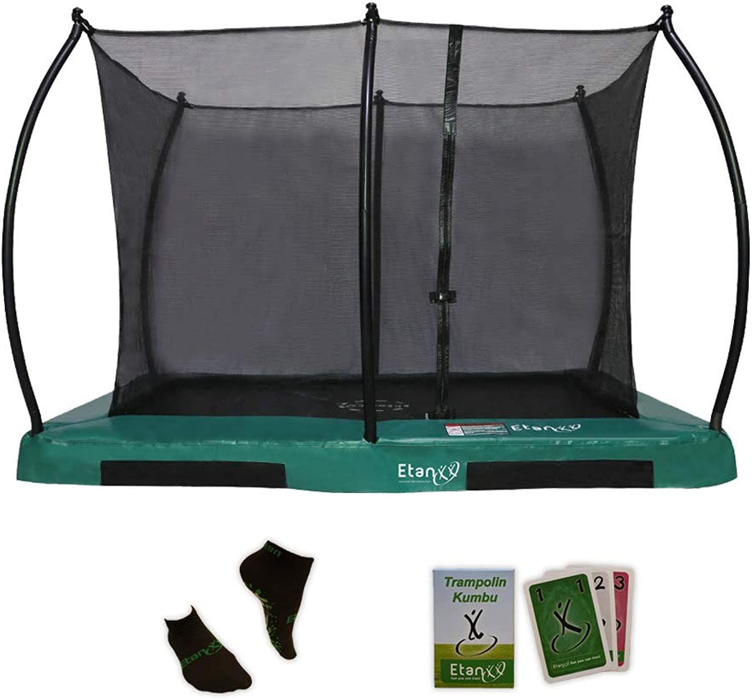 Etan Hi-Flyer Outdoor Boden Trampolin mit starkem Sicherheitsnetz – Inground Gartentrampolin mit UV-Bestendiges Randabdeckung - eingegraben in-ground Kinder Trampolin mit Netz - Rechteckig - Grün