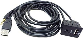 perfk USB AUX Autos Car Einbau Buchse Klinke Adapter Kabel 3.5mm Verlängerung Anschluss