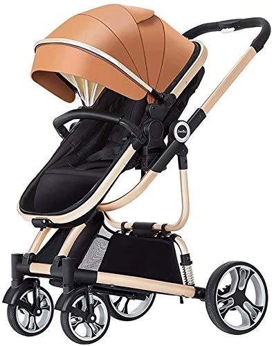 LOXZJYG Cochecito de bebé de absorción de Choque Ligero, Cochecito de Cochecito Plegable/Cochecito de Cochecito con Cesta de Almacenamiento de Gran Capacidad (Color : Leather Brown)