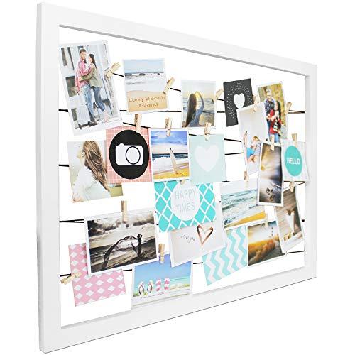 Wohaga Fotorahmen 'Happy Times' Bilderrahmen Holz B75xH55cm Weiß mit 20 Klammern Fotogalerie Wandfotohalter Fotoleine