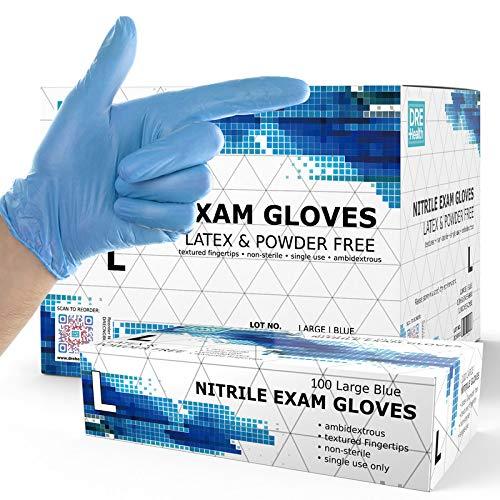 Powder Free Disposable Nitrile Gloves Large -1000 Pack Case, Blue -Medical Exam Gloves - Bulk Gloves Supply