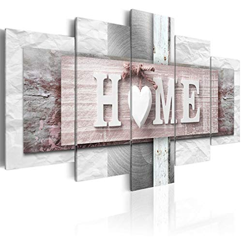 decomonkey Bilder Home Haus 200x100 cm XXL 5 Teilig Leinwandbilder Bild auf Leinwand Wandbild Kunstdruck Wanddeko Wand Wohnzimmer Wanddekoration Deko Textur rosa grau