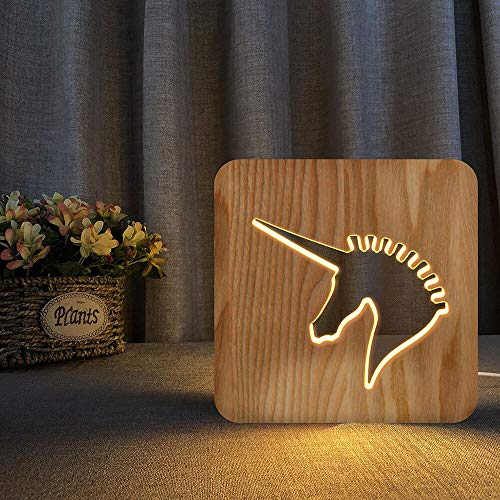 Shark Horse Deer Unicorn 3D LED Wooden Night Light Hollow Table Lamp USB Power Desk Lights for Baby Kids Decor New Year Gift