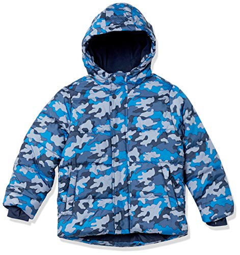 Amazon Essentials Heavy-Weight Hooded Puffer Jackets Coats Outerwear, Camuflaje Azul, 11-12 años