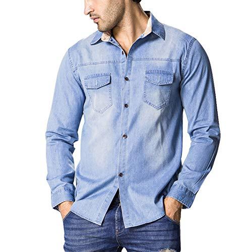 AOWOFS Herren Westernhemd Denim Regular Fit Jeanshemd Freizeit mit Kentkragen Blau M
