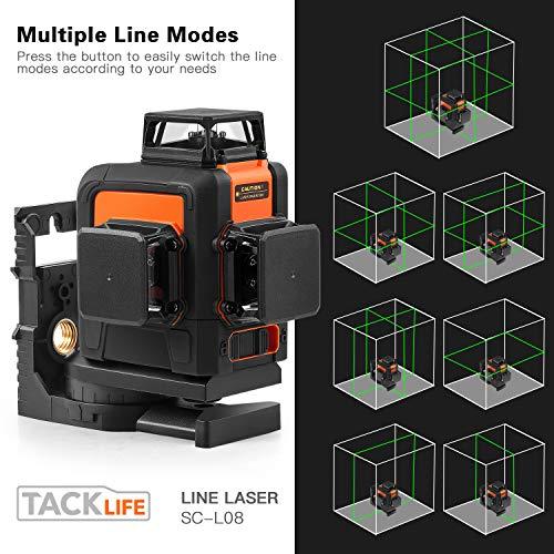 Kreuzlinienlaser TACKLIFE 3x360° Linienlaser, Grün, 40m, 3D Laser level mit 5200mAh Lithiumakku und USB Ladegerät,Selbstnivellierungslinienlaser mit Pulsfunktion, Schwenkbarer Magnethalterung-SC-L08 - 2