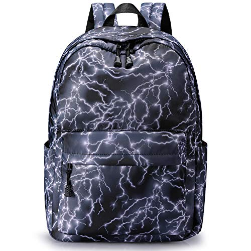 S-ZONE 15.6Inch Starry Lightning Stylish Backpack Travel Rucksack School Bags for Teenager Girls Boys Students Outdoor Hiking Camping Weekend Backpack