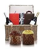 Cannavacciuolo Cesta De Navidad Gourmet con Panettone Al Limoncello, Panettone Clásico, Vino Spumante y Prosecco