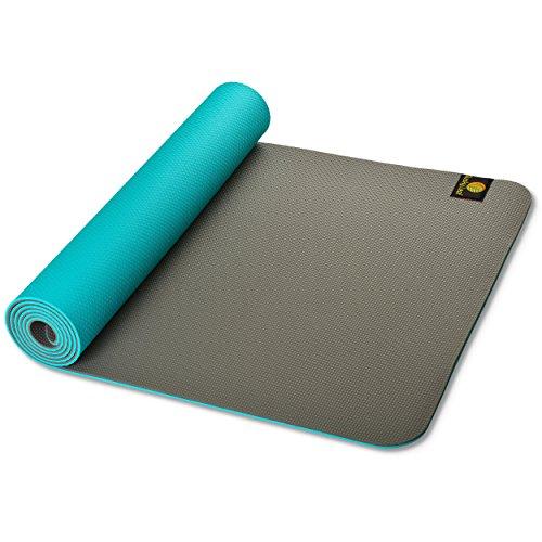 Dusky Leaf FLIPSTER Yoga Mat - Turquoise Blue/Rock Gray