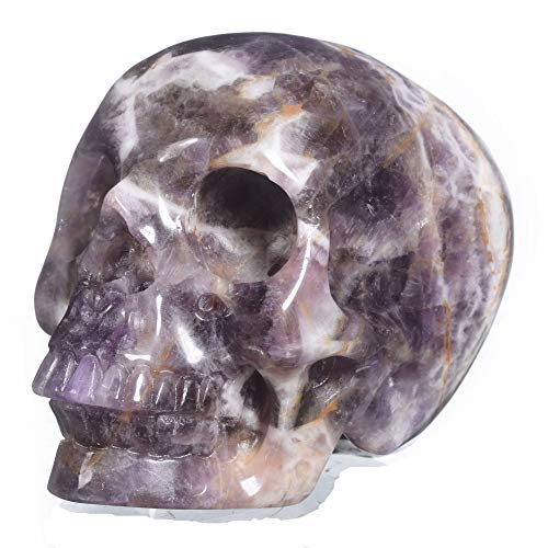Mineralbiz New Style! 2.8'- 3' Length Realistic Natural Amethyst Cluster/Chevron Amethyst Carved Crystal Skull, Human Skull Head, Skull Carving Sculpture
