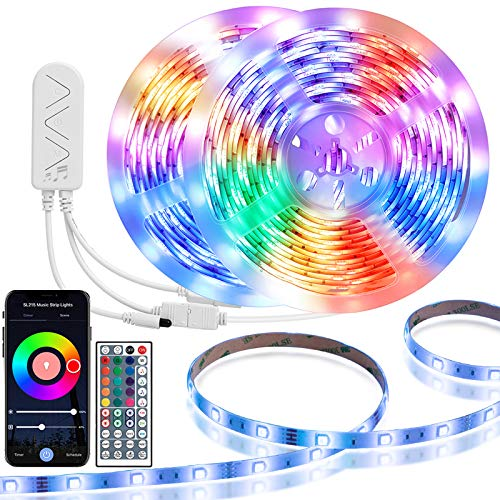 TaoTronics LED Strip Lights32.8ft Waterproof RGB Smart WiFi Rope Lights, Music Strip Lights Controller with Timer and Remote, DIY LED Lights for Party