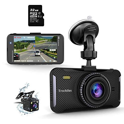 Trochilus Dual Dashcam 10,2 cm 1080P Front- und Heckkamera Dashcam 170° Weitwinkel Auto Kamera mit G-Sensor, WDR, Loop-Aufnahme, Parkmonitor, Bewegungserkennung, 32 GB SD-Karte inklusive
