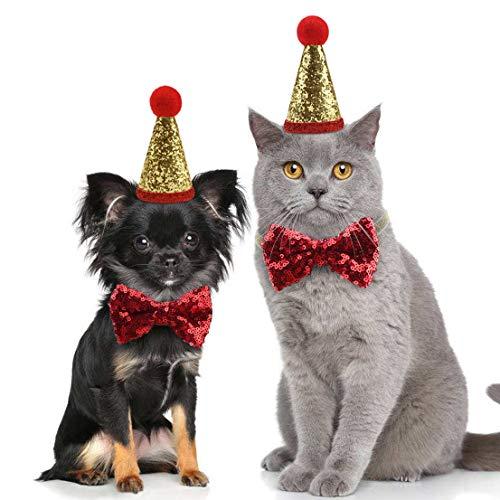 Idepet Bonnets de Noël pour Chat Paillettes Chapeaux Bowknot Costume Noeud Papillon réglable...