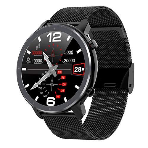 L11 Android Smart Watch iOS Mens Ropa 1.3'TFT TFT Ronda Completa 360 * 360 Ritmo cardíaco Yoga Múltiples Deportes SmartWatch IP68,Negro
