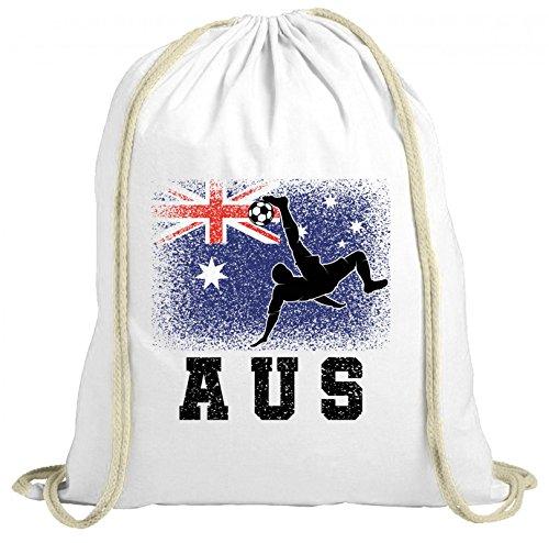 ShirtStreet Australien Fußball WM Fanfest Gruppen Fan natur Turnbeutel Rucksack Gymsac Australia Football Player, Größe: onesize,weiß natur