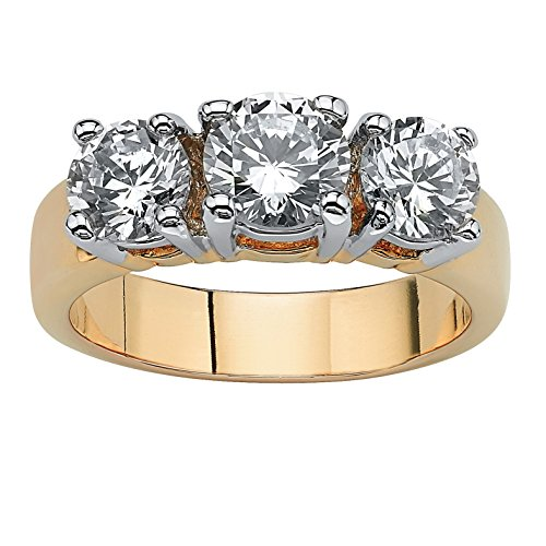 Palm Beach Jewelry 14K Yellow Gold Plated Round Cubic Zirconia Two Tone 3 Stone Bridal Ring Size 5