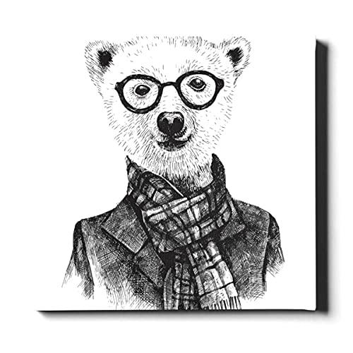 N\A Impresión de Lienzo de Pared Gafas Oso Estilo de Dibujos Animados Granja Arte de Pared decoración Lienzo Pintura Decorativa Adecuada para decoración del hogar