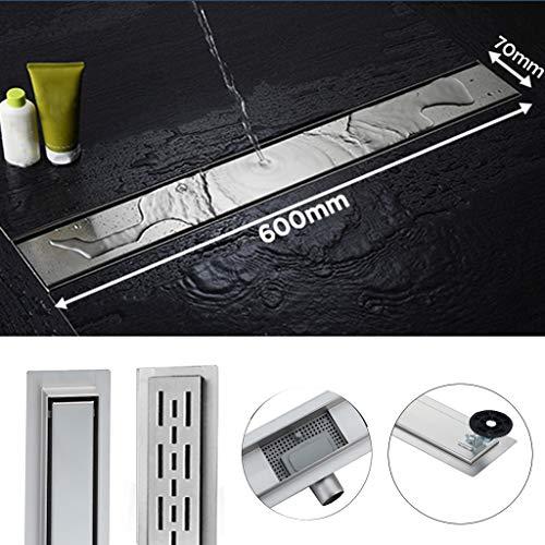 Edelstahl Duschrinne 60cm Flach Ablaufrinne Bodenablauf Siphon mit Geruchsstop Komplettset Duschablauf für Badezimmer von 60 bis 90cm wählar
