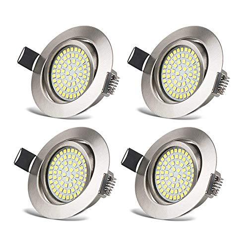 HYDONG Foco Empotrable LED Luz de Techo 3.5W Ultra Slim Plano Downlight Blanco Frio 6000K, 400LM, 230V, Redondo Ángulo Rotable 40° IP20 protección para salón o dormitorio cocina (Pack de 4)