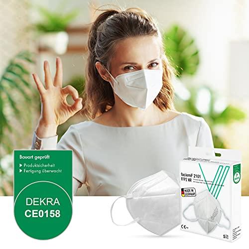 faciemF, 10 Stck. FFP2 Atemschutzmaske | Masken für Mund – und Nasenschutz | DEKRA (0158) geprüft |Made in Germany | sofort ab Lager lieferbar (10) - 6