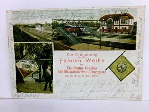 Mehrbild AK Zur Erinnerung an die Fahnen - Weihe des Eisenbahn - Vereins für Bischofsheim u. Umgebung am 2. 3. u. 4. Juli 1904. Bahnhof, Fahnenträger mit Fahne, Fahne