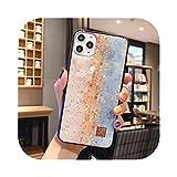 Carcasa de silicona para iPhone 11 Pro Xs Max X XR 6 6S 7 8 Plus con purpurina y diseño de escamas de pez de ensueño con forma de ostra y hojas doradas D38 para iPhone 11 Pro