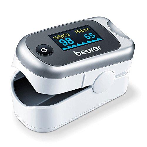 Beurer - Pulsioxímetro de dedo PO 40, medidor de saturación de oxigeno en la sangre y el pulso, color blanco y plata, 57 x 35 x 30 mm, 55 gr, color plata