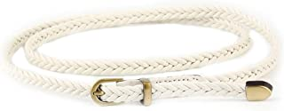 SGJFZD New Hand-Woven Belt Fashionable Female Pin Buckle Retro Casual Wild Thin Belt Waist Rope Decoration (Color : White, Size : 103cm(Without Buckle))