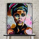 KWzEQ Acuarela Retrato de Mujer Pintura al óleo Abstracta Cartel escandinavo Africano Sala de Estar Mural,Pintura sin Marco,60x75cm