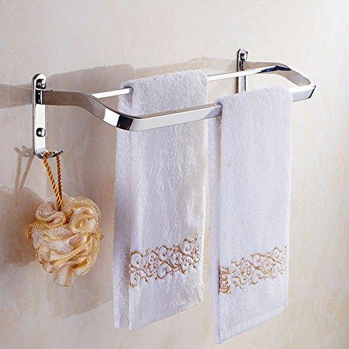 Porte-serviettes à toison double perforée à 50-80C / grille de bain en acier inoxydable 304 / porte-serviettes/serviette à linge/salle de bains (taille : 60 cm)