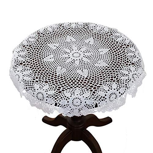 Gracebuy Mantel redondo de encaje de ganchillo 100% algodón hecho a mano, algodón, Blanco, 24 pulgadas