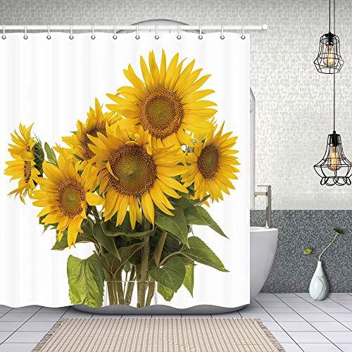 NYMB Duschvorhang-Set, Sonnenblumen, 177,8 x 177,8 cm, schimmelresistent, Polyester