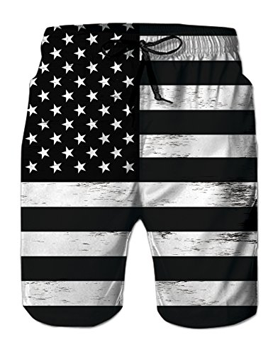 uideazone Men's 3D Black White American Flag Print Beach Short Quick Dry Surfing Boardshorts with Pocket