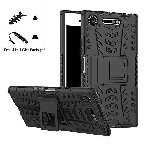 LiuShan Sony XZ1 Hülle, Dual Layer Hybrid Handyhülle Drop Resistance Handys Schutz Hülle mit Ständer für Sony Xperia XZ1 Smartphone (mit 4in1 Geschenk verpackt),Schwarz