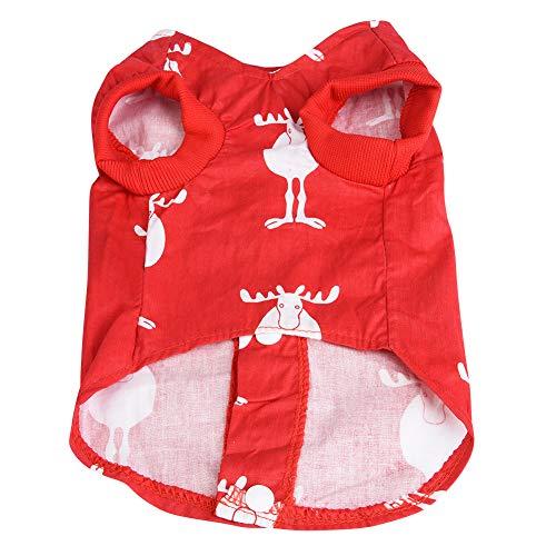 TAKE FANS Ropa para mascotas Navidad ciervo chaleco rojo perro sin mangas camisa para perros pequeos medianos (XL) tela