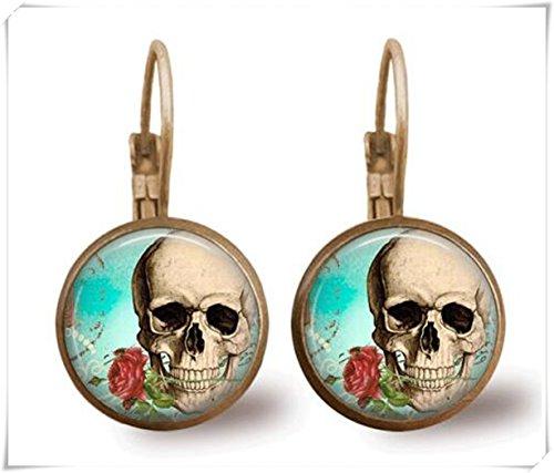 Totenkopf-Ohrringe, Fliesenschmuck, Totenkopfschmuck, Tag der Toten, Schmuck, Perlenohrringe