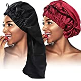 2PCS Satin Hair Braid Bonnet,Foldable Extra Long Bonnet for Braids with Button,Single Layer Sleep Cap,Soft Hair Sleeping Bonnet Cap for Black Women,Large Hair Loose Cap for Dreadlocks(Black+Wine Red)